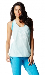 Zumba Blocked Bubble Sky Blue Tank XL