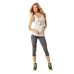 Zumba Blocked Bubble Off White/Gold Tank