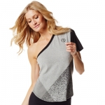Zumba So Shaded Asymmetrical Top Gray